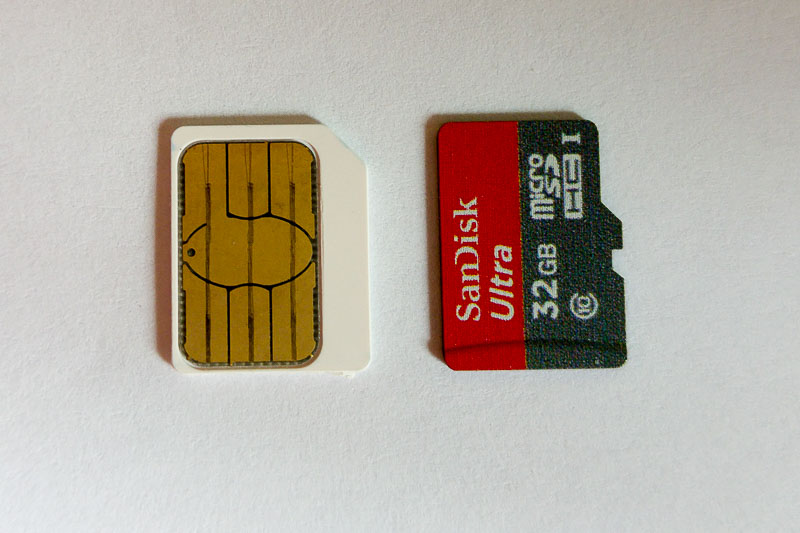 Micro sim and micro sd cards