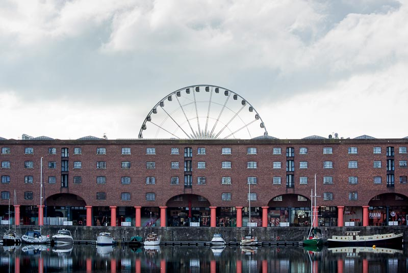 Albert Dock with the Echo wheel in the backgound