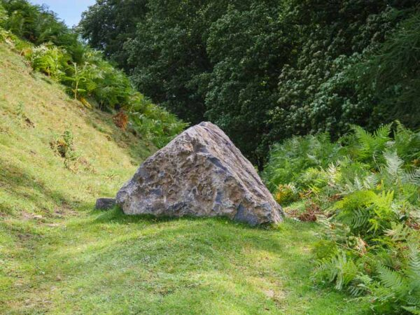 triangle shaped rock with grass